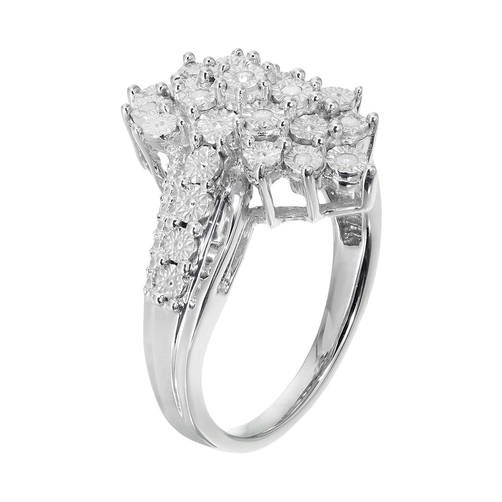 Sterling Silver 1/10 Carat T.W. Diamond Cluster Ring