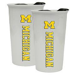 Michigan Wolverines 2-Pack Ceramic Tumbler Set