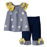 Baby Girl Blueberi Boulevard Gingham Floral Top & Ruffled Pants Set