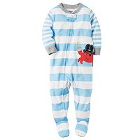 Toddler Boy Carter's Striped Applique Footed Pajamas