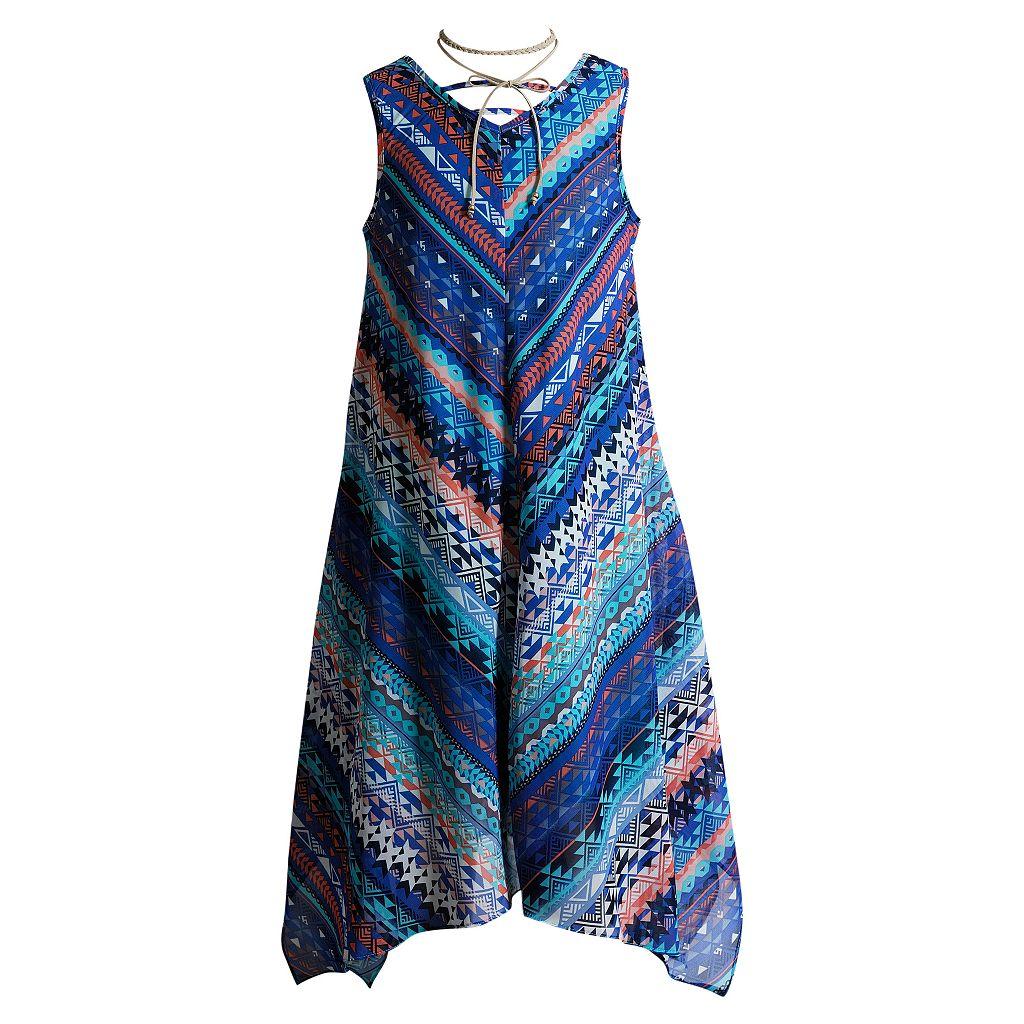 Girls 7-16 Mackenzie x Emily West Blue Printed Sharkbite Chiffon Dress with Layered Choker Necklace