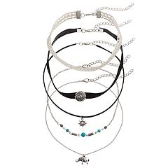 Mudd® Elephant, Starburst & Medallion Choker Necklace Set