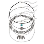 Mudd® Leaf, Medallion & Tattoo Choker Necklace Set