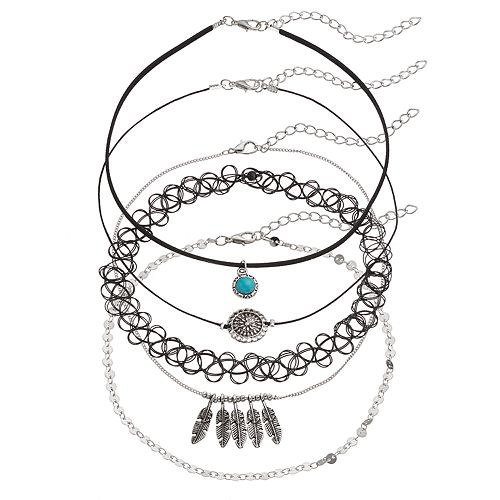 Mudd® Leaf, Medallion & Tattoo Choker Necklace Set