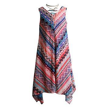 Girls 7-16 Mackenzie x Emily West Coral Printed Sharkbite Chiffon Dress with Layered Choker Necklace