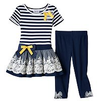 Baby Girl Blueberi Boulevard Striped Tunic & Leggings Set