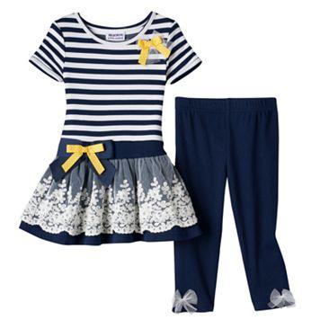 Baby Girl Blueberi Boulevard Striped Tunic & Leggings Set