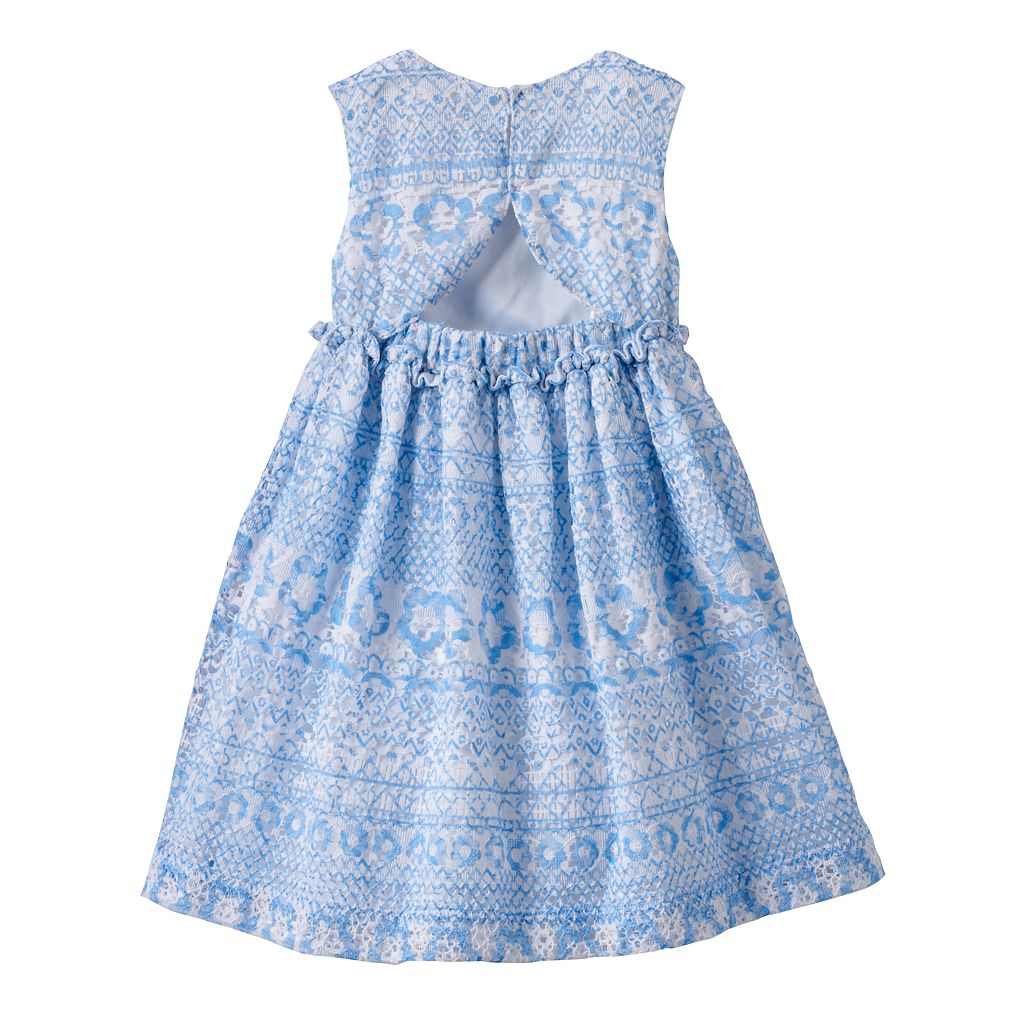 Baby Girl Blueberi Boulevard Crochet Open-Back Dress
