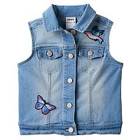 Girls 4-12 SONOMA Goods for Life™ Embroidered Patch Denim Vest