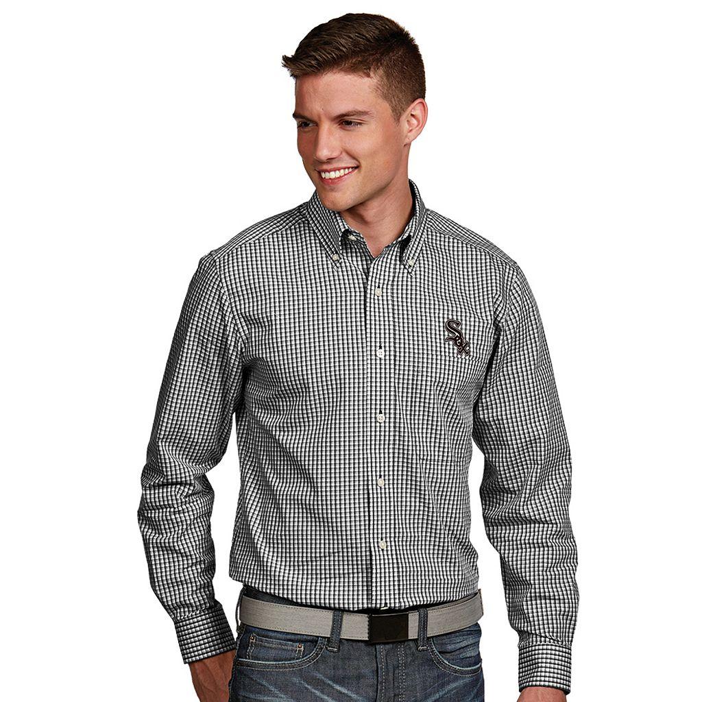 Men's Antigua Chicago White Sox Associate Plaid Button-Down Shirt