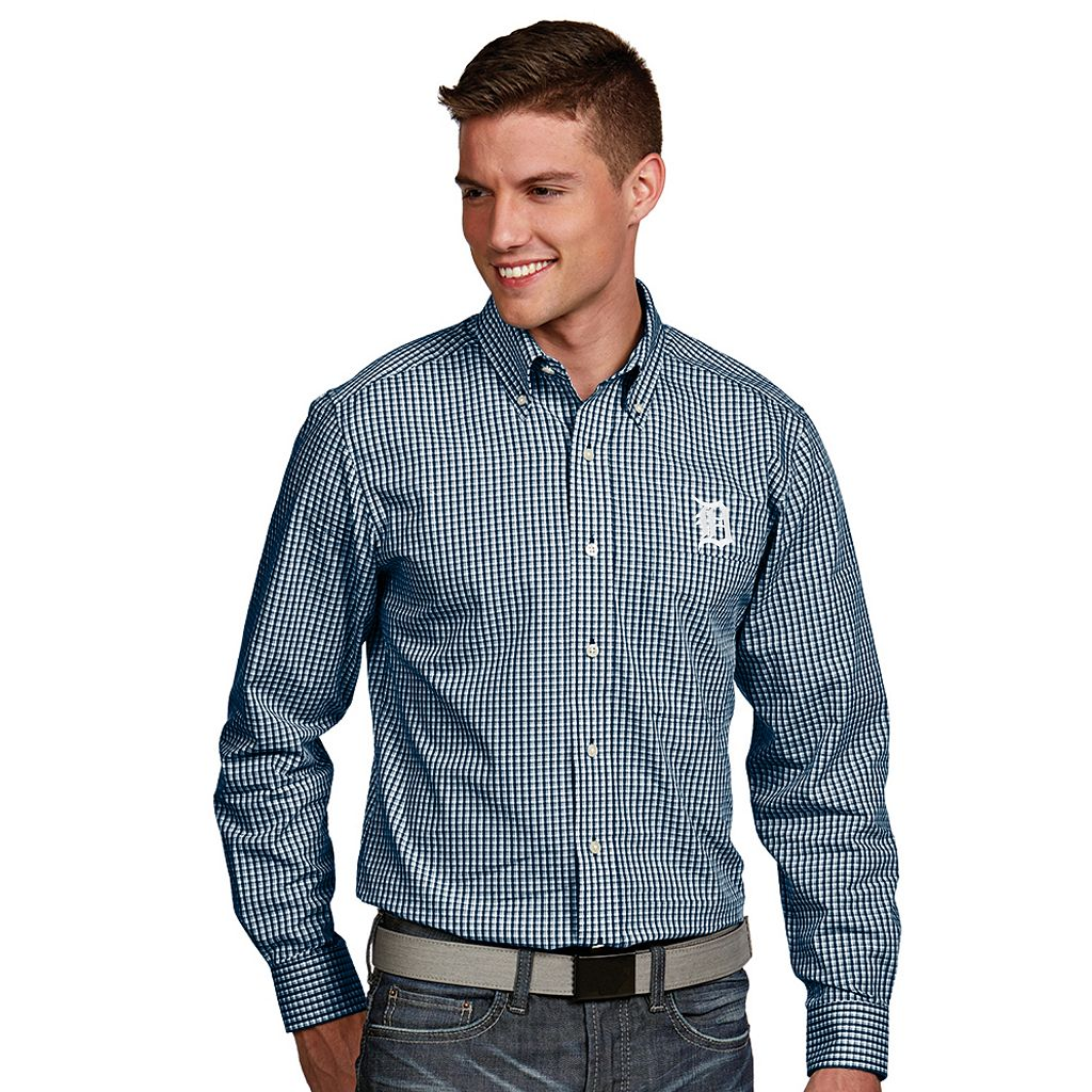 Men's Antigua Detroit Tigers Associate Plaid Button-Down Shirt