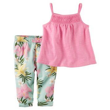 Baby Girl Carter's Crochet Tank Top & Floral Pants Set