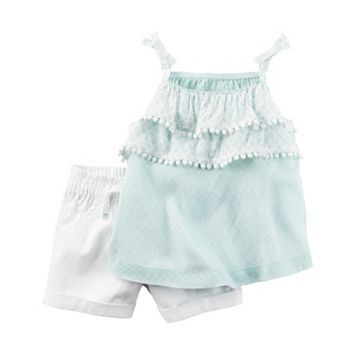 Baby Girl Carter's Tiered Tank Top & Cuffed Shorts Set