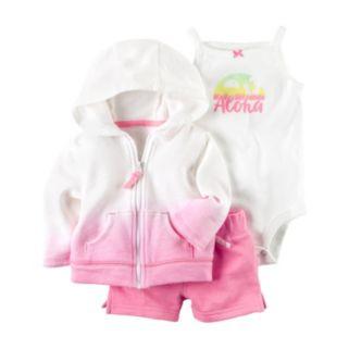 "Baby Girl Carter's ""Aloha"" Bodysuit, Hooded Cardigan & Shorts Set"