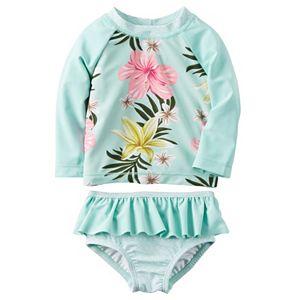 Baby Girl Carter's Floral Rashguard & Ruffled Bottoms Swimsuit Set