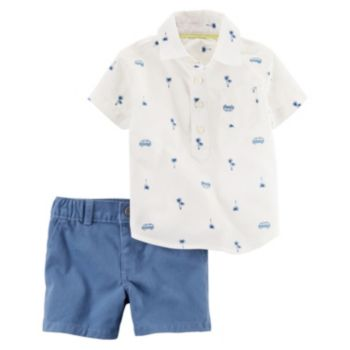 Baby Boy Carter's Print Polo & Solid Shorts Set