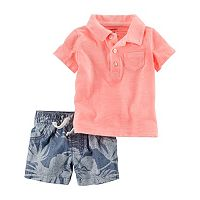 Baby Boy Carter's Solid Polo & Floral Shorts Set