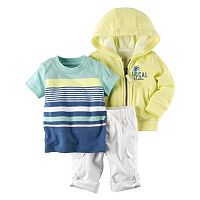 Baby Boy Carter's Hooded Cardigan, Striped Tee & Convertible Pants Set