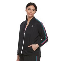 Plus Size FILA SPORT® Stripe Zip Front Jacket