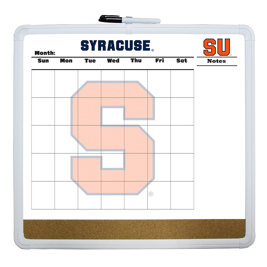 Syracuse Orange Dry Erase Cork Board Calendar