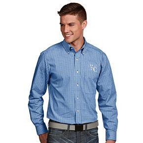 Men's Antigua Kansas City Royals Associate Plaid Button-Down Shirt