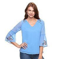 Women's Apt. 9® Embroidered Chiffon Top