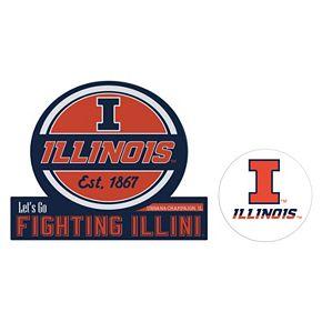 Illinois Fighting Illini Jumbo Tailgate & Mascot Peel & Stick Decal Set