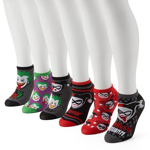 251e6ec6854cec Women s 6-pk. DC Comics Joker   Harley Quinn No-Show Socks