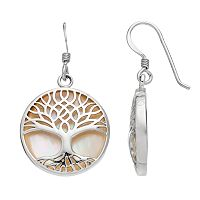 Sterling Silver Mother-of-Pearl Tree of Life Disc Drop Earrings