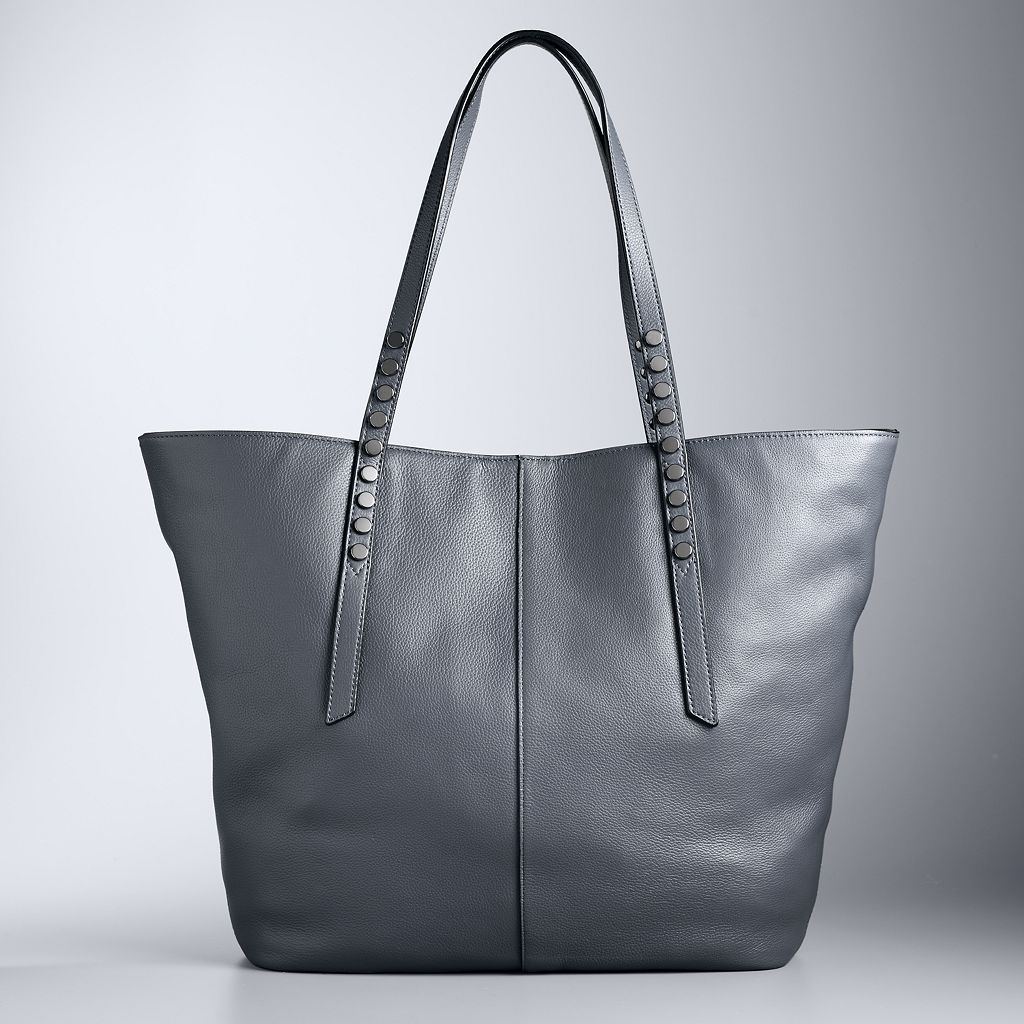 Simply Vera Vera Wang Langly Studded Leather Tote