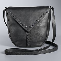 Simply Vera Vera Wang Studded Flap Leather Saddle Crossbody Bag
