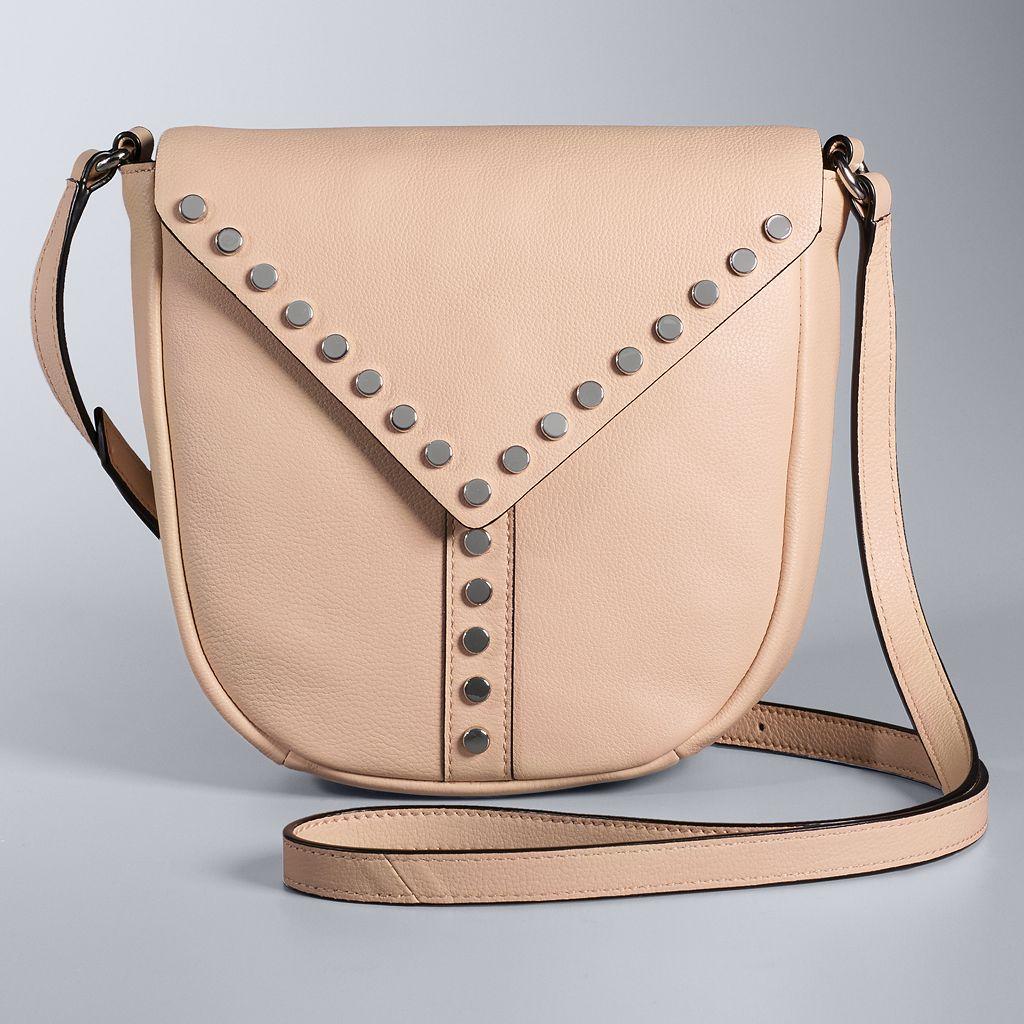 Simply Vera Vera Wang Studded Flap Leather Saddle Crossbody Bag