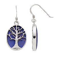 Sterling Silver Lab-Created Lapis Lazuli Tree of Life Oval Drop Earrings