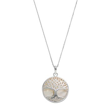Sterling Silver Mother-of-Pearl Tree of Life Disc Pendant