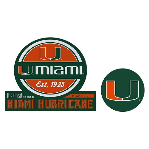 Miami Hurricanes Jumbo Tailgate & Mascot Peel & Stick Decal Set
