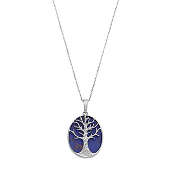 Sterling Silver Lab-Created Lapis Lazuli Tree of Life Oval Pendant