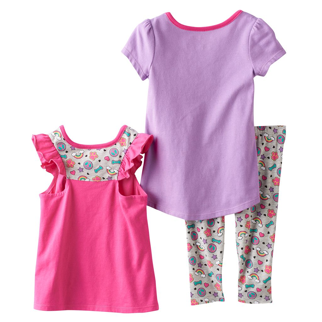 Toddler Girl Paw Patrol Skye, Everest & Chase Peace & Love Tees & Leggings Set