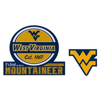 West Virginia Mountaineers Jumbo Tailgate & Mascot Peel & Stick Decal Set
