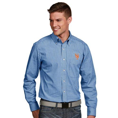 Men's Antigua New York Mets Associate Plaid Button-Down Shirt