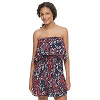 Juniors' Speechless Floral Blouson Strapless Romper