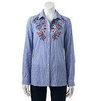 Women's SONOMA Goods for Life™ Embroidered Pinstripe Shirt