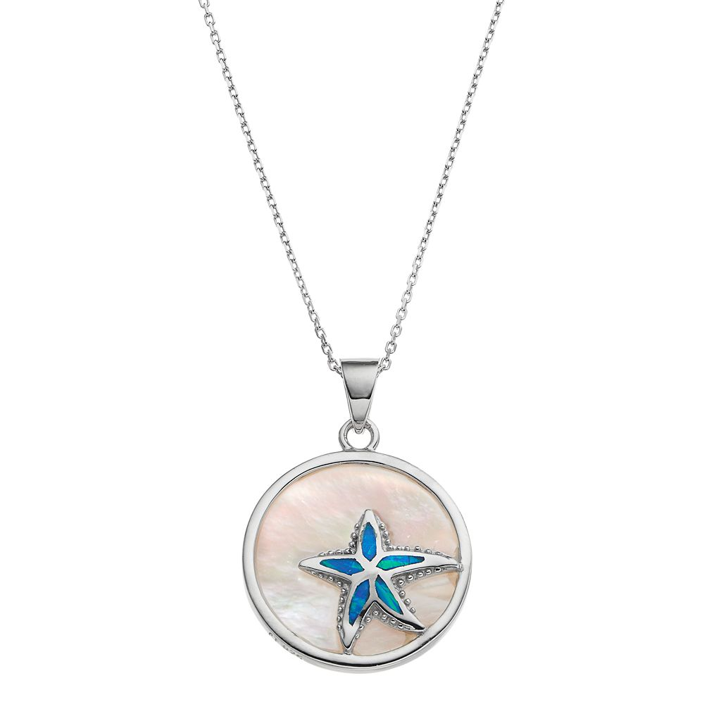 Sterling Silver Mother-of-Pearl & Lab-Created Blue Opal Starfish Disc Pendant