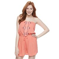 Juniors' Speechless Strapless Embroidered Romper