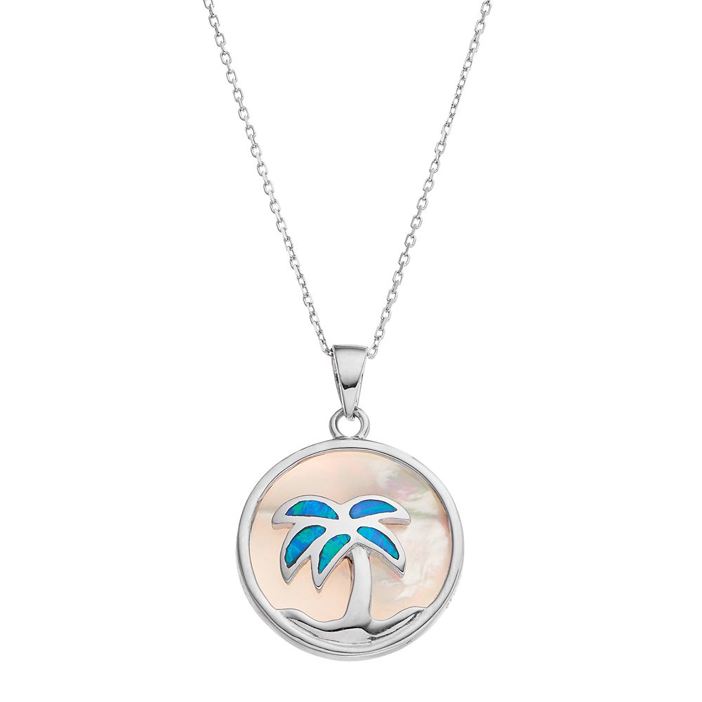 Sterling Silver Mother-of-Pearl & Lab-Created Blue Opal Palm Tree Disc Pendant