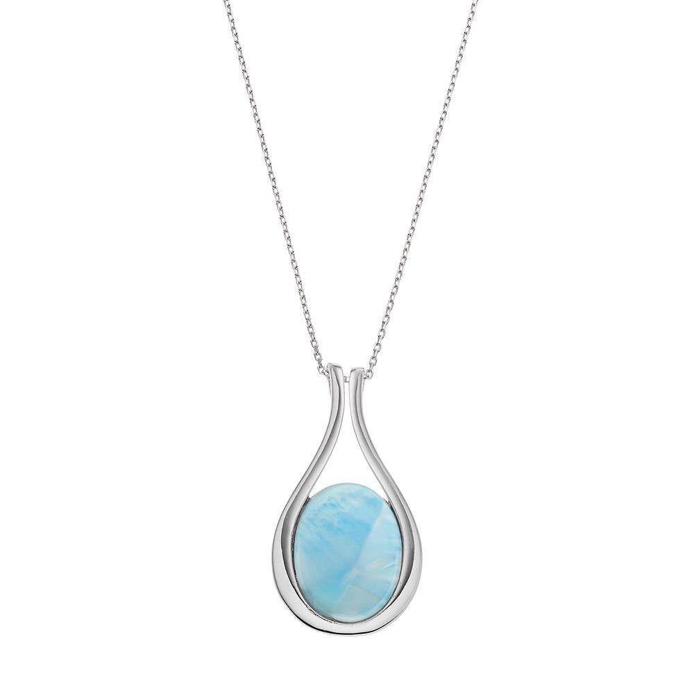 Sterling Silver Larimar Teardrop Pendant Necklace