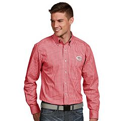 Men's Antigua Cincinnati Reds Associate Plaid Button-Down Shirt