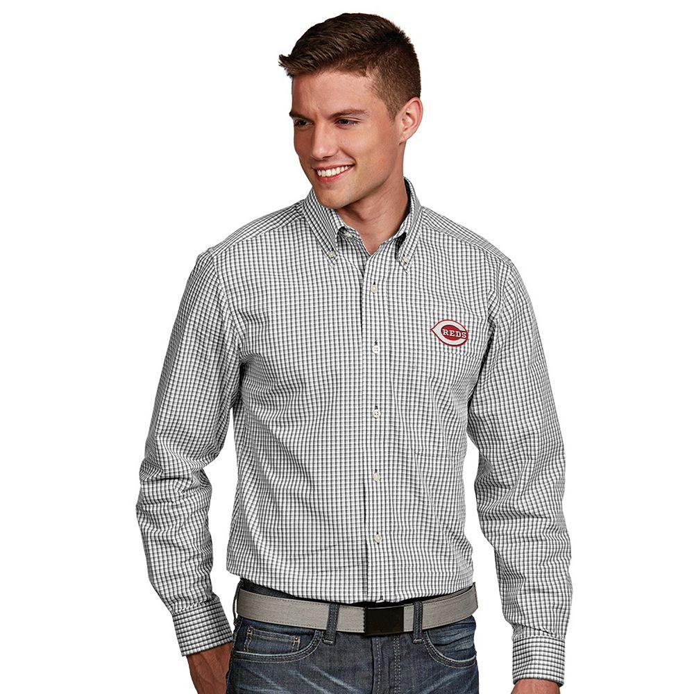 Men's Antigua Cincinnati Reds Associate Plaid Button-Down Shirt