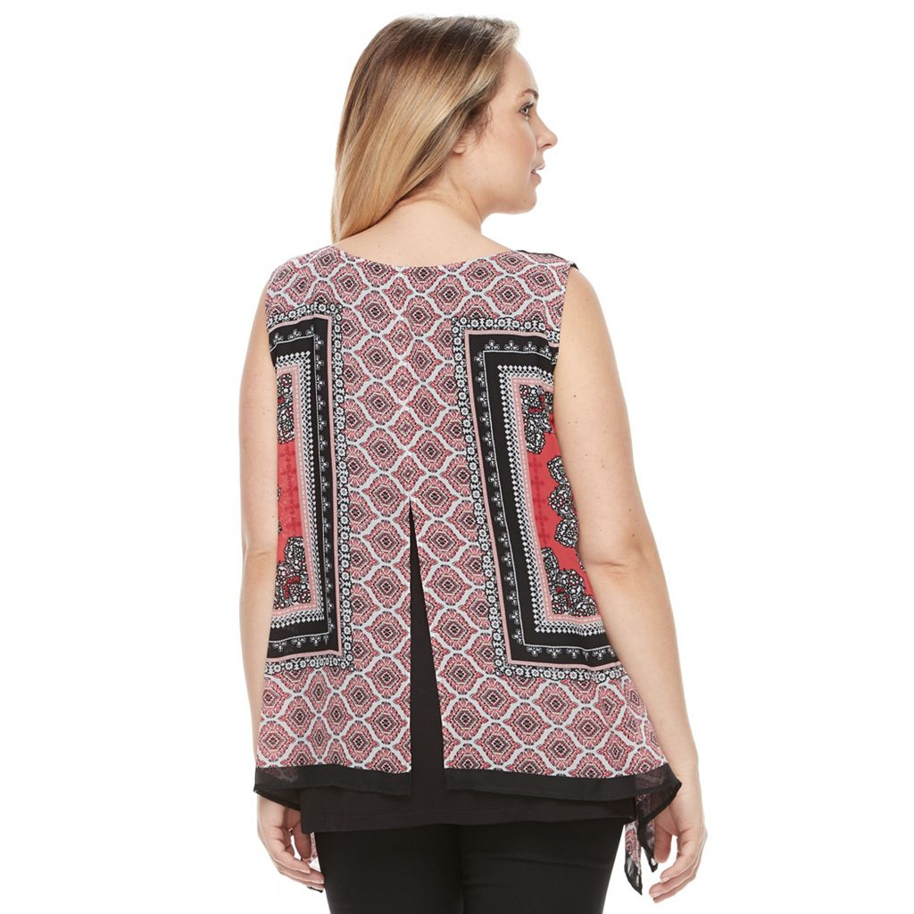 Plus Size AB Studio Scroll Chiffon Popover Tank