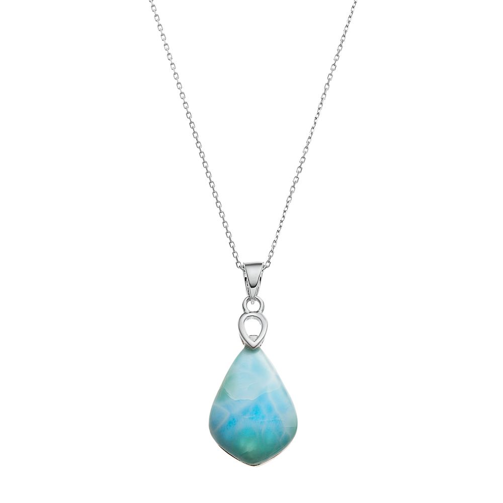 Sterling silver larimar pendant necklace aloadofball Image collections