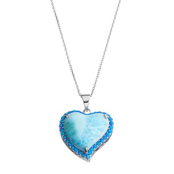 Sterling Silver Larimar & Lab-Created Blue Opal Heart Halo Pendant